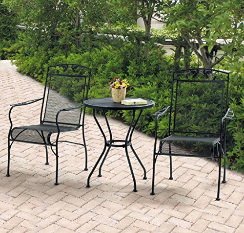 Mainstays Jefferson Wrought Iron 3-Piece Bistro Set, Black, Seats 2 (Wrought Iron Patio Furniture For Sale)