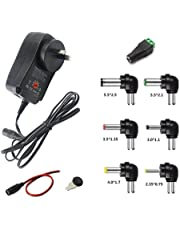 GutReise AU 30W Universal Power Supply Adapter 100-220V TO 3V 4.5V 5V 6V 7.5V 9V 12V Adjustable DC Charger Adapter Switching 5V/2.1A USB Port with 8 Selectable Adapter Tips For Wifi Adapter Electronics