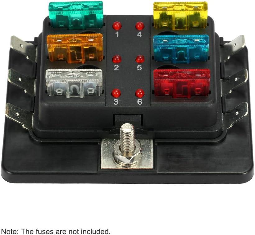 KKmoon Caja de Fusibles 6 Vías Portafusibles con Lampara de Alerta LED Kit para Coche Barco Marino Triciclo 12V 24V