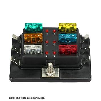 KKmoon Caja de Fusibles 6 Vías Portafusibles con Lámpara de Alerta LED Kit para Coche Barco