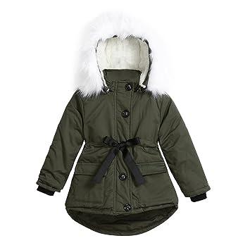 68a1b6fce Amazon.com  Baby Boys Girls Hooded Coat Long Sleeve Padded Waist Bow ...