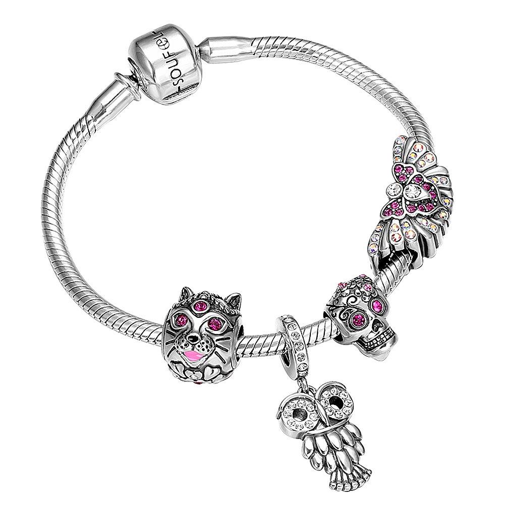 SOUFEEL Halloween Bracelets Gothic Skull Charms 925 Sterling Silver Charm Bracelet 7.5 Inch Halloween Gifts