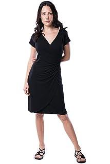 4b7d50ec2df Nanakee Womens Faux Wrap Dress - Short Sleeve Slimming Tummy Control V Neck  Printed Knit Dress