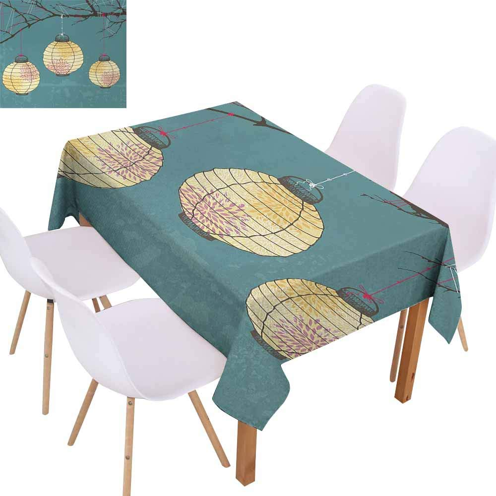 UHOO2018 Lantern,Rectangle Table Cloth,Three Paper Lanterns Hanging on Branches Lighting Fixture Source Lamp Boho,Great for Kitchen Decoration,Teal Light Yellow,73''x112''