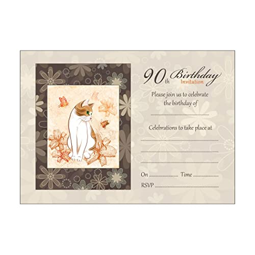 90th birthday invitations amazon cat and flowers 90th birthday party invitations with brown kraft envelopes pack of 20 filmwisefo