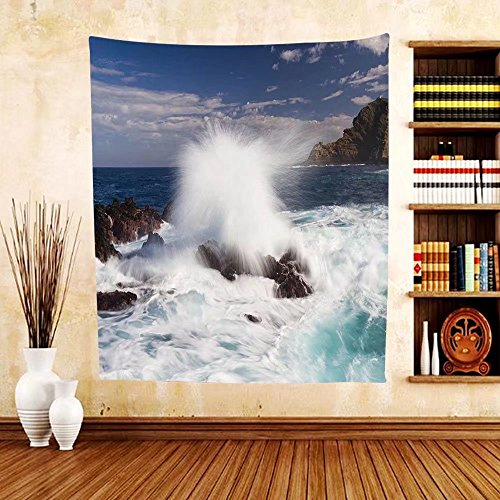 Gzhihine Custom tapestry Scenery House Decor Tapestry Giant Waves on Rocks with Splashes in South Portugal Coastline Picture for Bedroom Living Room Dorm Blue - Outlets Rock Ar Little In
