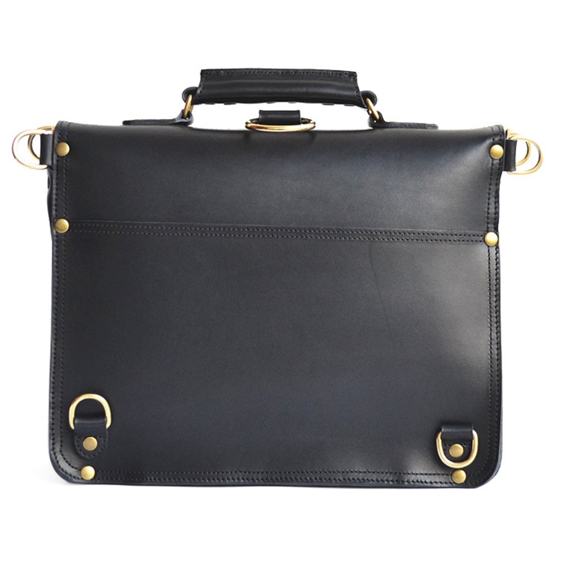 17, Black Solid Brass Hardware Full Grain Leather Marlondo Leather Thin Briefcase
