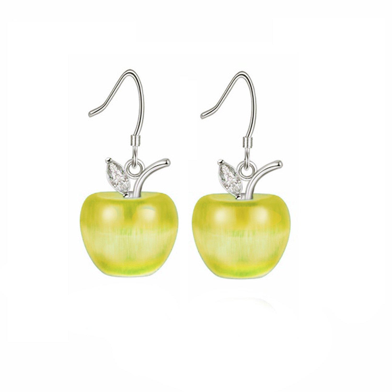 Uloveido White Gold Plated Apple Fruit Dangle Drop Dangling Earrings for Women Girls Sensitive Ears with Gift Box YL007-E