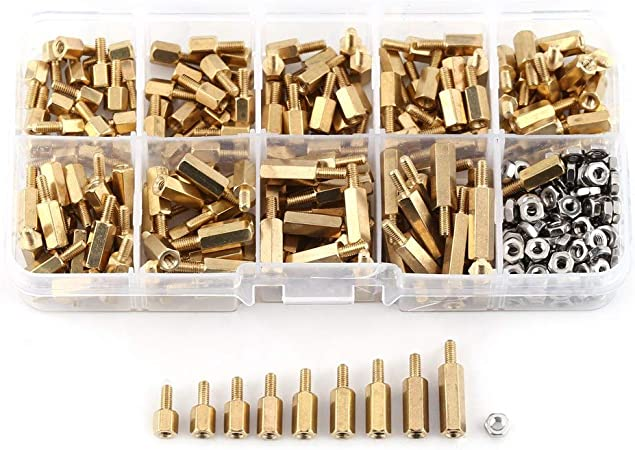 Brass M2.5 XLX 280pcs M2.5 Brass Male-Female Spacer Standoff Screw Nut Assortment Kit and stainless steel Screw Nut Set