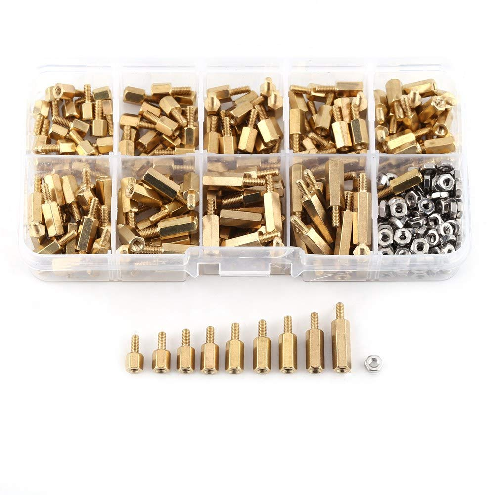 M2.5 Standoff Male Female Hex Brass Spacer Motherboard Standoff with Stainless Steel Hex Nuts Assortment In Box