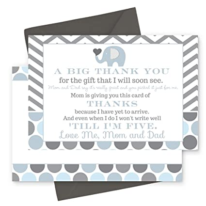 Blue Elephant Baby Shower Thank You Postcard Set Of 15