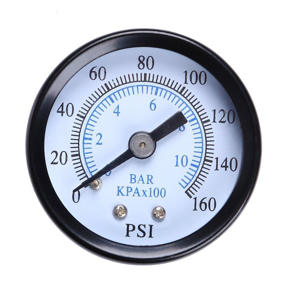 Demiawaking 0-160psi Mini Dial Air Compressor Meter Hydraulic Pressure Gauge 1//8 NPT 0-10bar