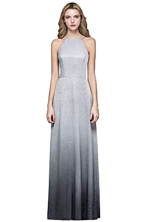d58a7ba9086 MisShow Women s Halter Prom Long Dress Gradient Sleeveless Evening Party  Gowns at Amazon Women s Clothing store