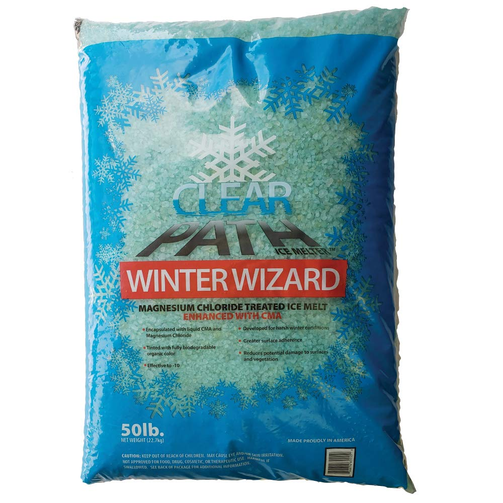 FDC Winter Wizard | Calcium Magnesium Acetate and Magnesium Chloride Ice Melt | Snow Melt & De-icer (24 x 50lb Bags) EcoClean Solutions