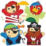 Kits de Couture Marionnettes Pirates en Feutre, que les Enfants pourront Confectionner et Décorer avant d'y Jouer (Lot de 4)