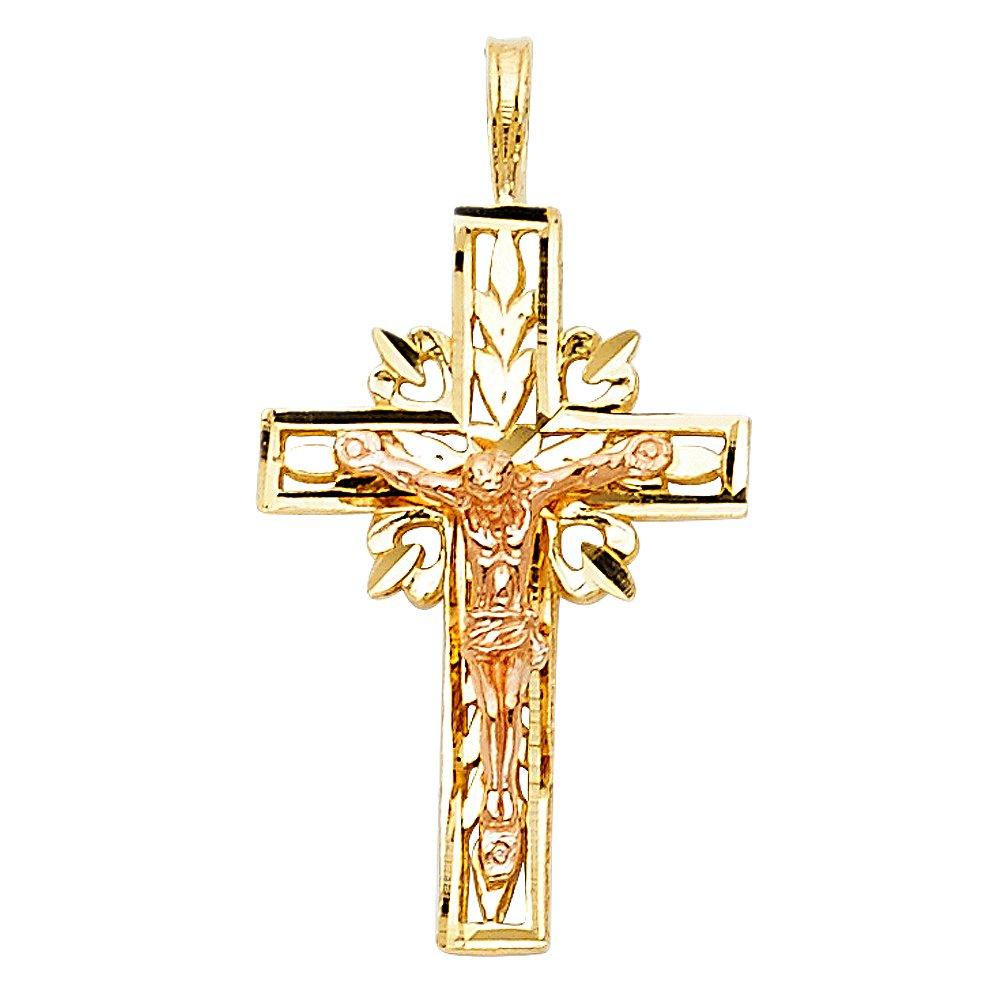 14k White And Yellow Gold Religious Crucifix Pendant Charm