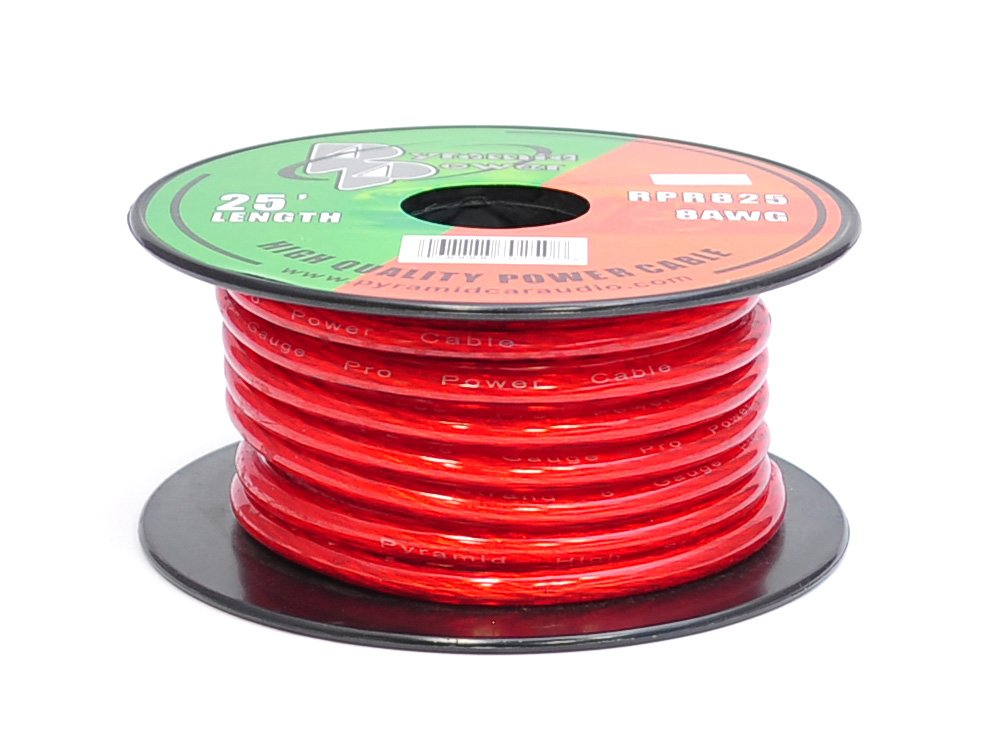 Pyramid RPR825 8 Gauge Power Wire 25 feet OFC (Clear Red) 61xWYkRpK5L