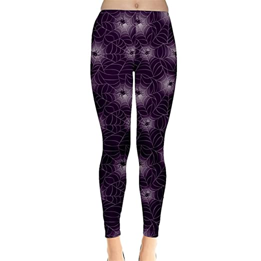 90903b7bbc33a CowCow Purple Spider Web Pattern Repeats Seamlessly Women's Leggings,  Purple-XS