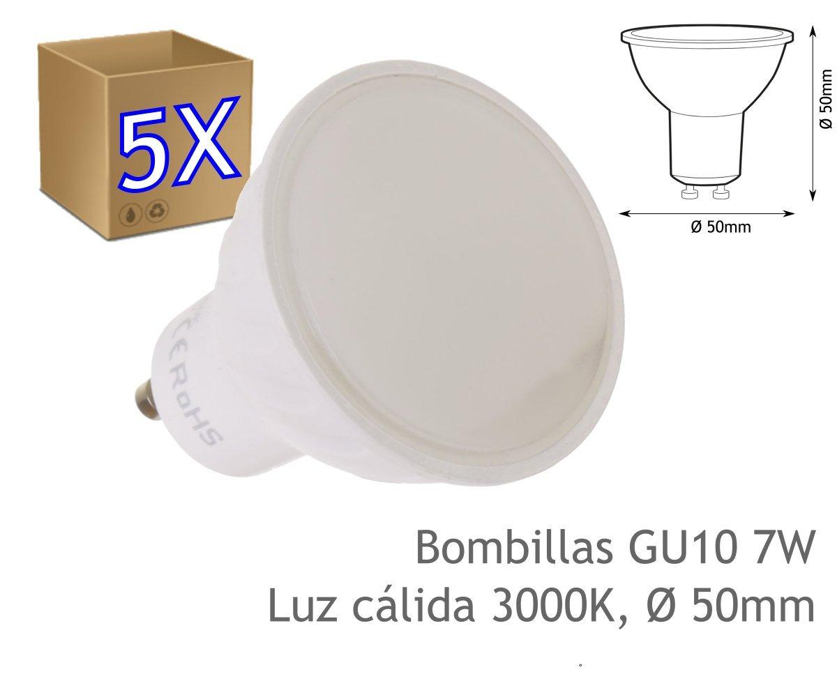 JANDEI - 5 x Bombilla GU10 7W blanco 3000K cálido: Amazon.es ...