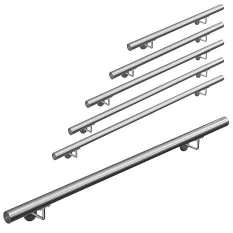 Pasamanos acero inoxidable 316 barandilla baranda pasamanos para pared pared escalera Montaje 50 - 600 cm V2Aox, Length:120 cm