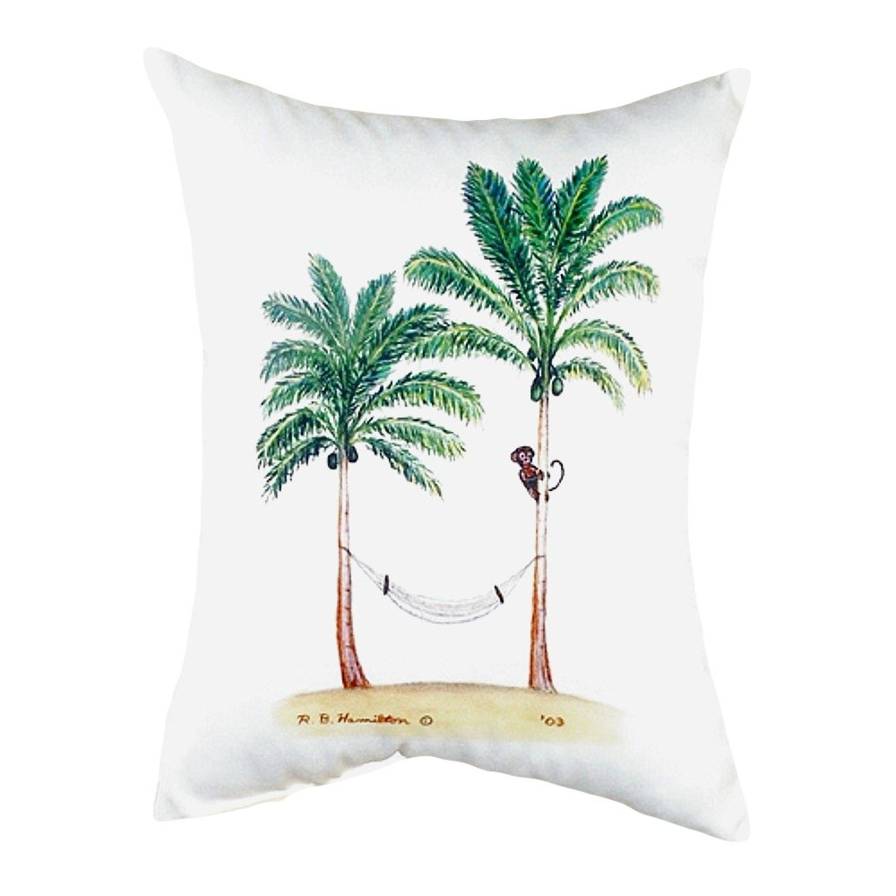 Betsy Drake NC085 Palm Trees /& Monkey No Cord Pillow 16 x20