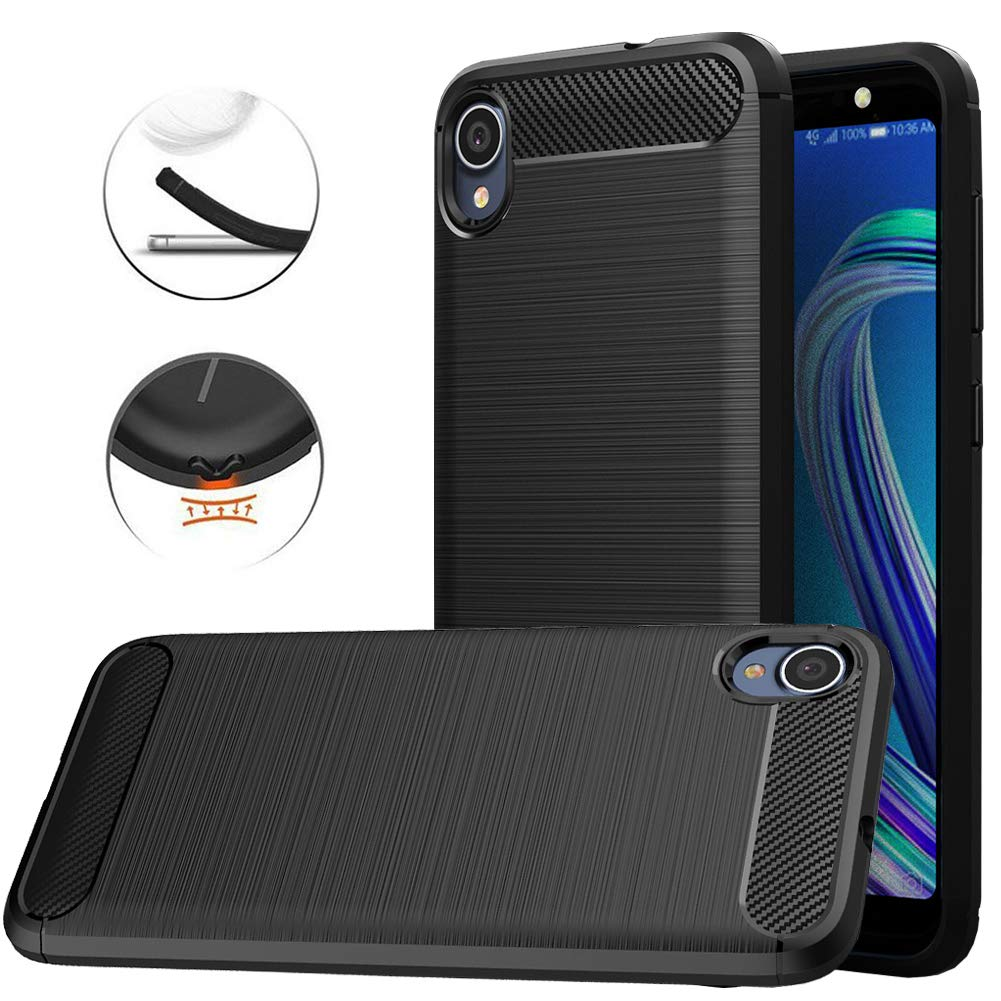 Asus ZenFone Live L1 (ZA550KL) Case, Dretal Carbon Fiber Shock Resistant Brushed TextureAnti-Fingerprint Flexible Soft TPU Phone Protective Cover Case ...