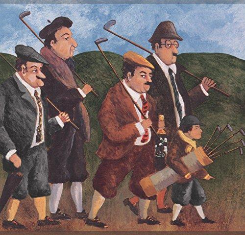 Men with Golf Clubs Sports Vintage Wallpaper Border Retro Design, Roll 15' x -