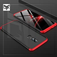 TheGiftKart Full Body 3 in 1 Slim Fit 3D 360 Degree Protection Hybrid Hard Bumper Back Cover for OnePlus 6(Black and Red)