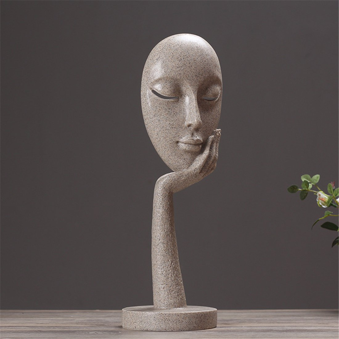 Elegant Donna Face Resin Sculpture Artwork Art Home Decoration - Figurine Creative Ornamenti Da Scrivania Statue Living Room Restaurant Café Bar Decor,L