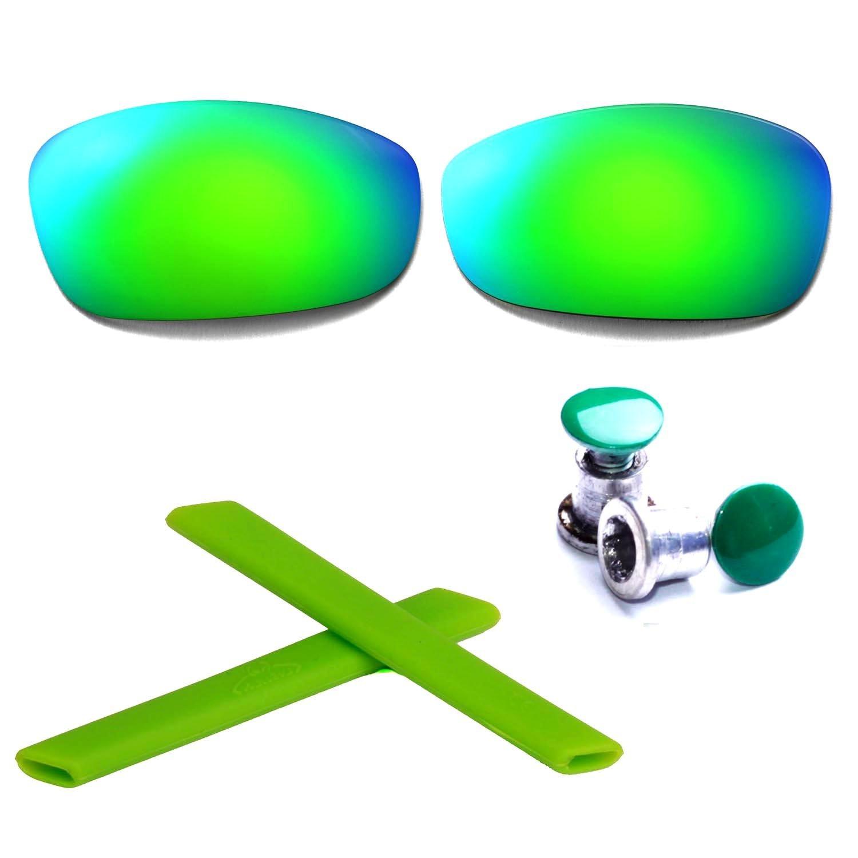 New Walleva Replacement Lenses + Earsocks +Bolt For Oakley Split Jacket - Mulitple Options (Emerald Lenses + Green Rubber + Green Bolt)