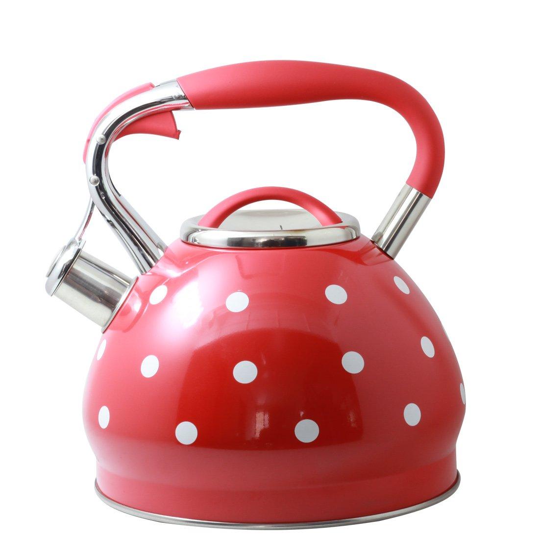 Riwendell 3.2 Quart Whistling Tea Kettle Stainless Steel Dot Print StoveTop Teapot (GS-04517CFY-3.0L-Red)