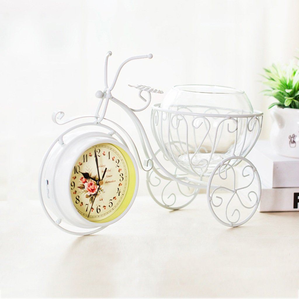 HAOFAY Wrought Iron Desktop Clock, Bicycle Double-sided Clock, Personalized Home Mute Clock Pendulum Pieces 9.8 × 5.9 × 14.5 Inches ( Color : Milky white , Size : With cup )