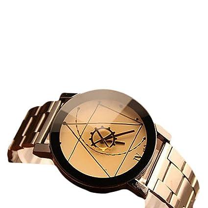 Amsion Marea aguja de la brújula Reloj Hombre Acero inoxidable Moda cuarzo  analógico reloj de pulsera b88450d2ea30