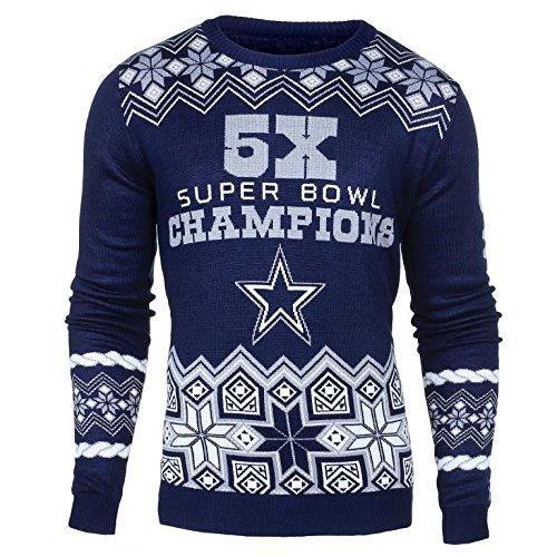 NFL Dallas Cowboys Men's Super Bowl Commemorative Crew Neck Sweater, Medium, Blue (Dallas Cowboys Shorts)