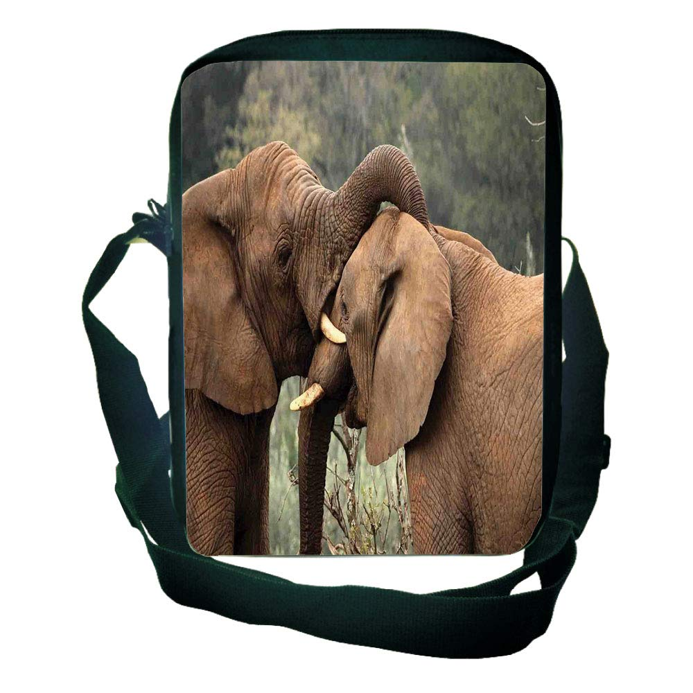 Diversified Style One Shoulder Small Satchel Safari Decor,Two Wild Savanna Elephants Wrestling Cute Nature Icons South African Animals Game Photo,Brown Green for Students,Personalized Design,9.4''×6.3''
