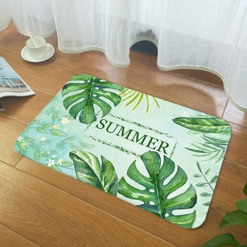 Bathroom Rug-40 x 60cm Vintage Retro Microfiber Palm Leaf Non-Slip Soft Absorbent Bath Rug Kitchen Floor Mat Carpet D