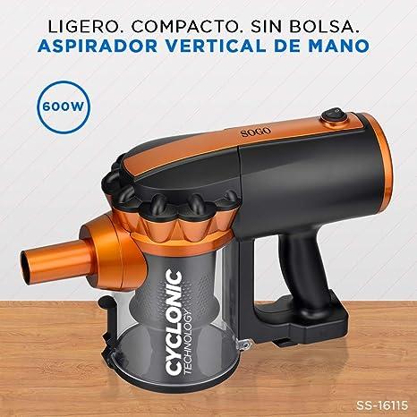 SOGO SS-16115 - Aspirador ciclónico 2 en 1: Vertical y de Mano, Aspiradora Sin Bolsa, 600 W de potencia, con filtro HEPA Fácil de Limpiar y Gran Radio de Acción: Amazon.es: Hogar