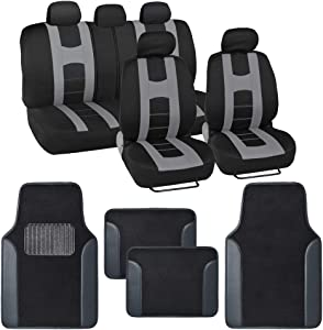 BDK Combo Sport Accent Car Seat Covers (2 Front 1 Bench) Auto Carpet Floor Mats (4 Set) with Heavy Protection Sleek Graphic Two Tone Fresh Design All Protective - Gray Accent