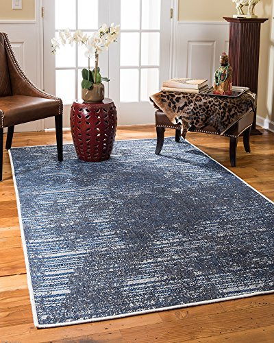 NaturalAreaRugs Turkish Riley Vintage Design Olefin, Jute, And Polyester Chenille Area Rug, Durable, Eco-Friendly, Gray Color (6 Feet 5-Inch X 9 Feet)