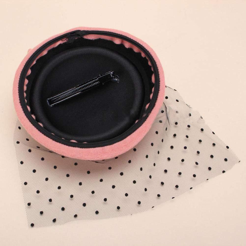 BrawljRORty Hairclips Women Fascinator Bowknot Hairclip Hair Pillbox Cocktail Party Hat Veil Accessory