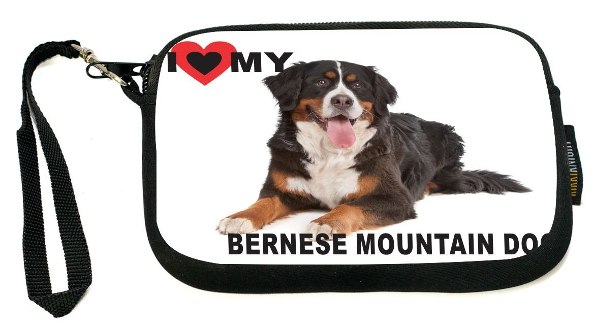 UKBK I Love My Bernese Mountain Dog Neoprene Clutch Wristlet with Safety Closure - Ideal case for Camera, Universal Cell Phone Case etc.