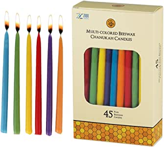 "Zion Judaica Beeswax Deluxe Candles 5.75"" Tall for Hanukkah or Any Other Use (Multicolored)"