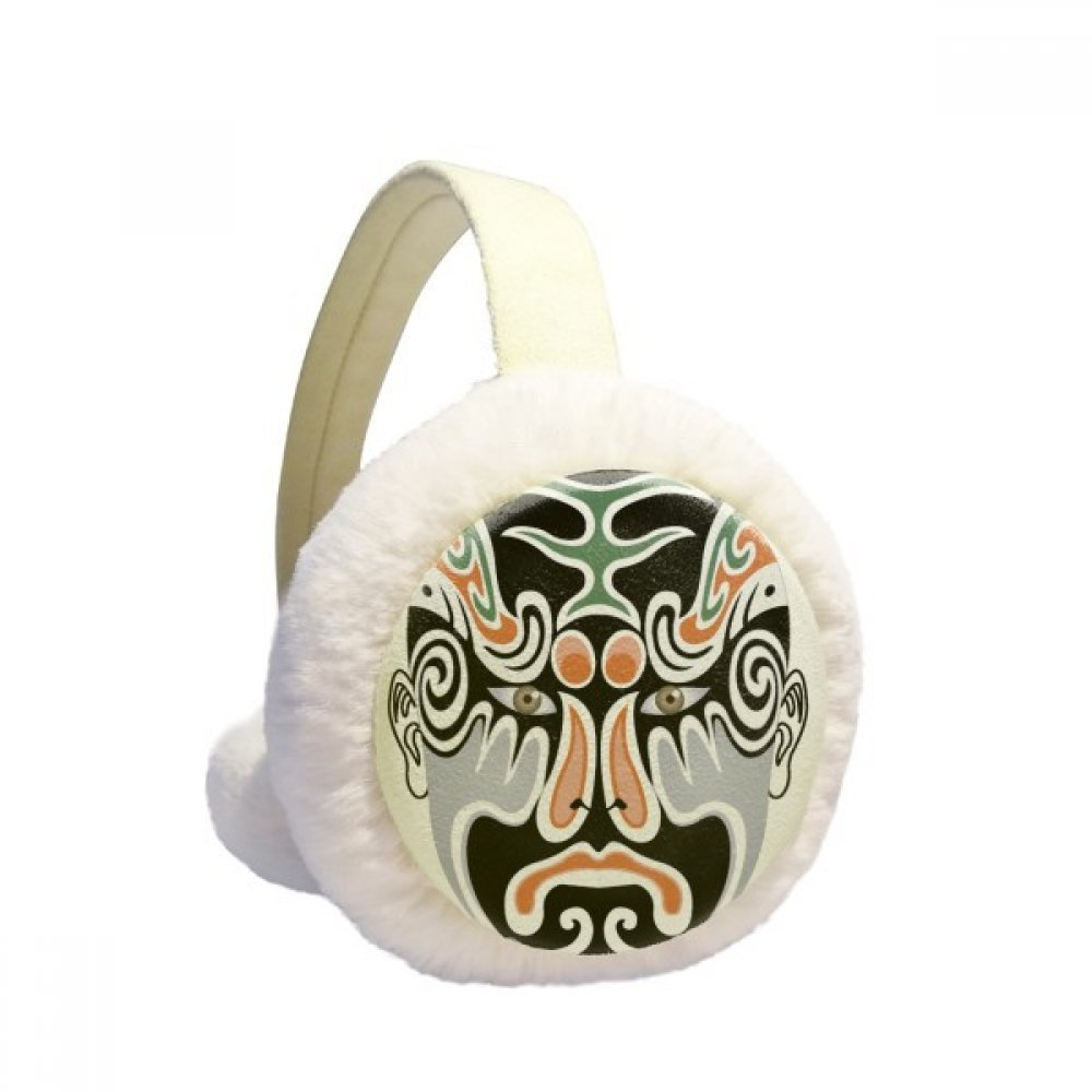 Peking Opera Mask Colorful Longhumen Winter Earmuffs Ear Warmers Faux Fur Foldable Plush Outdoor Gift