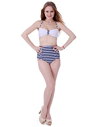 aeb0e34fa3 HDE Women Vintage 50s Pinup Girl Rockabilly High Waist Retro Bikini Swimsuit  Set  Amazon.co.uk  Clothing