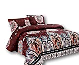 Tache Geometric Floral Paisley Medallion Duvet Cover - Burgundy Palace - Luxurious Microfiber Duvet Cover With Zipper and Security Ties/Ribbons - 3 Piece Set - King