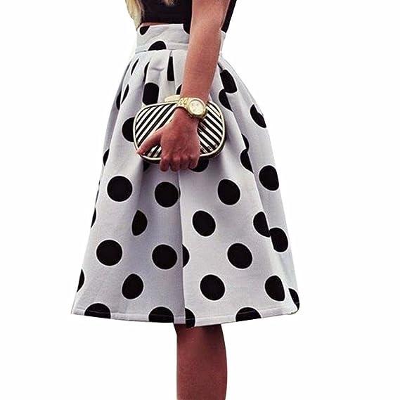 Faldas, Challeng Falda de paraguas con lunares Bodycon mujer Faldas de soplo retro (s, blanco): Amazon.es: Belleza