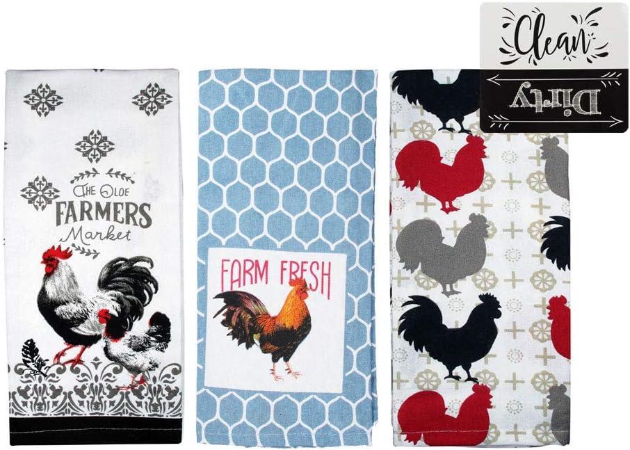 Rooster Kitchen Towels Set Farmhouse Kitchen Towels Gift Set (Multi)