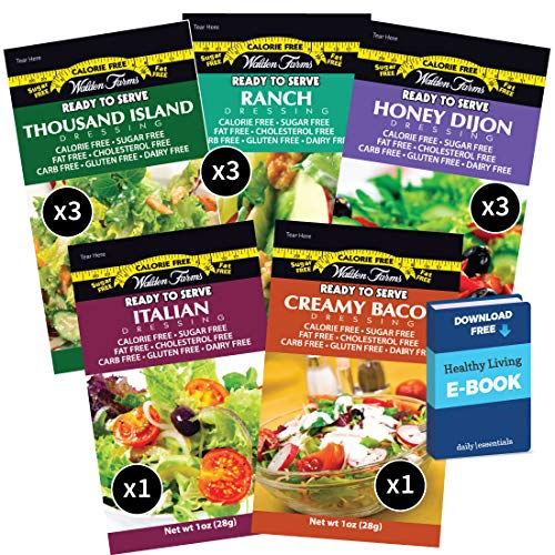 Walden Farms Salad Dressing Packets - Sampler Pack in Ready to Serve Calorie Free Flavors, 11 - 1 oz Pouches (Honey Dijon,Thousand Island,Ranch,Italian,Bacon)