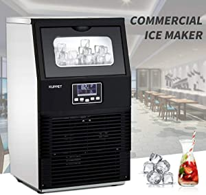 88 lb. Daily Production Freestanding Clear Ice Maker Machine great for Applications in Homes, Restaurants, Bars, Hotels, Grocery Stores, and More