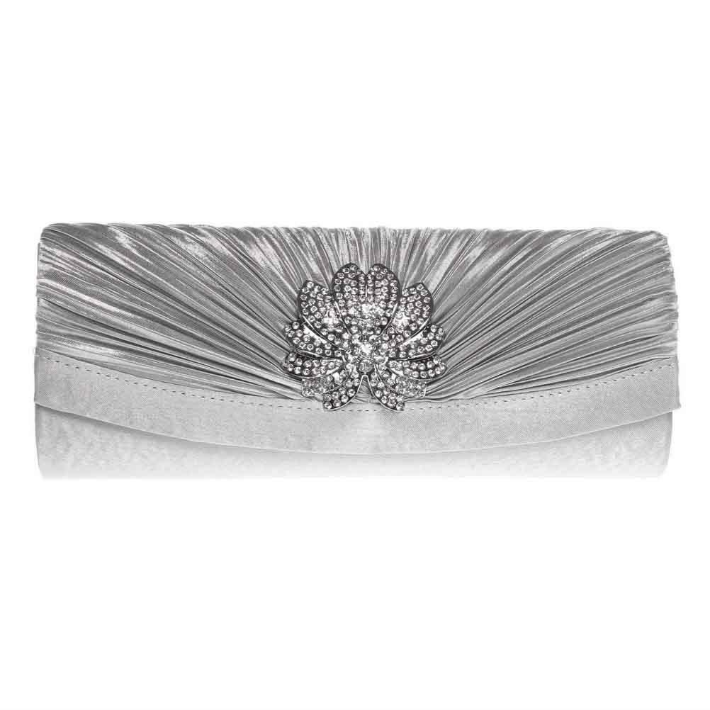 FASHIONROAD Evening Clutch, Womens 3D Floral Rhinestone Pleated Clutch Purses For Wedding & Party Silver